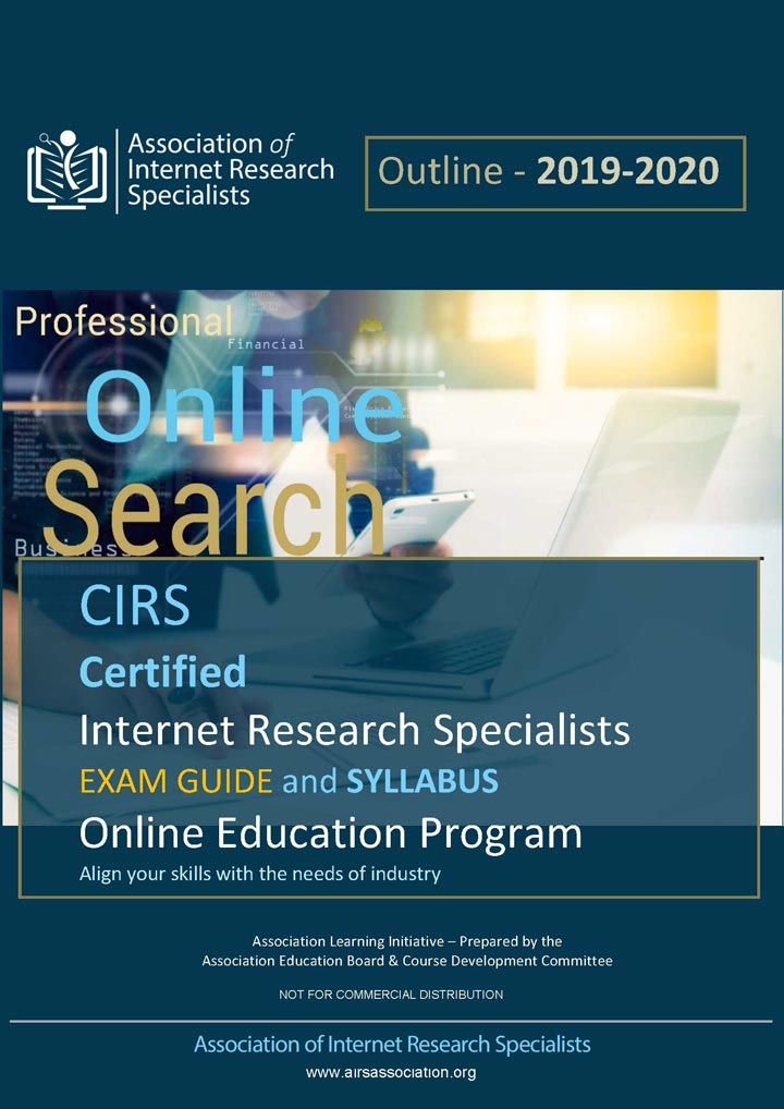 Certified Internet Research Specialist Syllabus