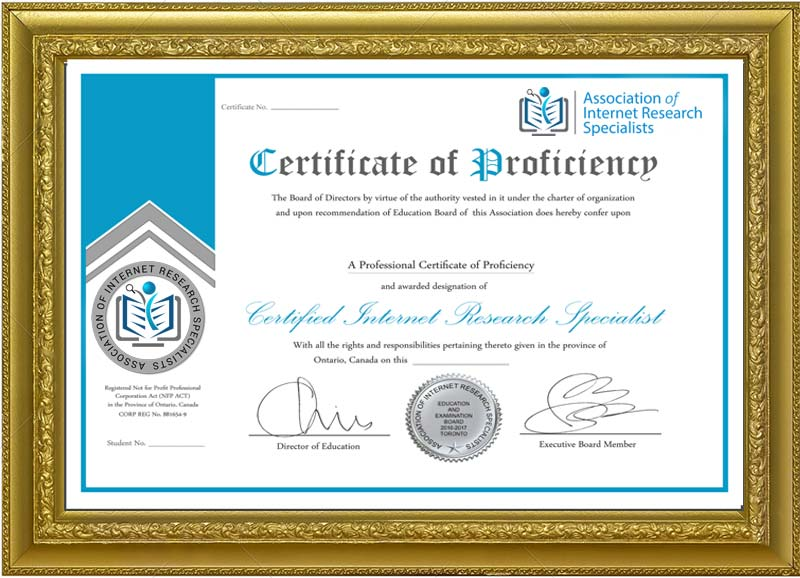 Certified Internet Research Specialist