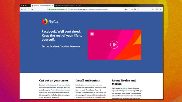 Mozilla Firefox released an extension called the Facebook Container