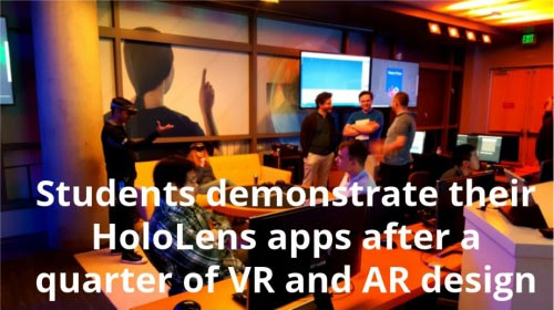 Students demonstrate their HoloLens apps after a quarter of VR and AR design
