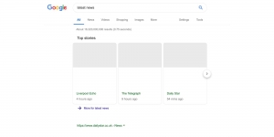 Google Search testing news results with no snippets, headlines, images following Europe's Article 11
